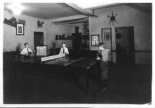 Young Men's Christian Association boys section playing ping-pong, Minneapolis, 1937.