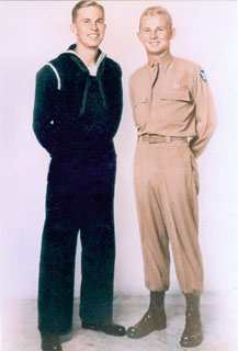 Carl Platou (right) with brother, Harald, 1943.