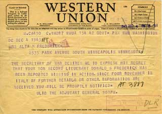 "Document: Western Union Telegrams sent to Don Frederick's mother to give notice of his status as ""Missing"" and ""POW."""