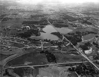 Photo: Aerial view of Lake Cornelia and surrounding area, Edina, 1955.