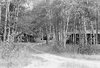 General view of Rabideau CCC camp, Chippewa National Forest, Beltrami County, 1974.