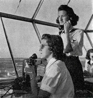 Photo: B.J. Gersey (standing) at her post as air traffic controller, Jacksonville Naval Air Station, Florida, 1944.
