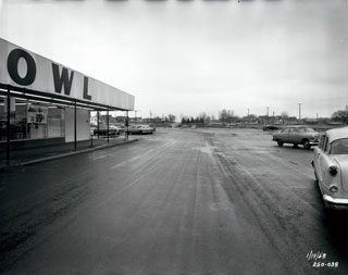 Photo: Parking lot and Red Owl Grocery Store, Knollwood Shopping Center, Highway 7, St. Louis Park, 1958.