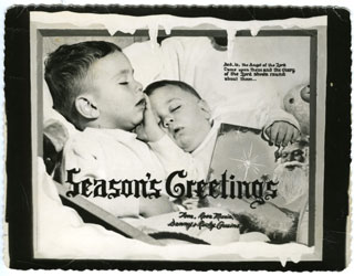 Photo: Danny and Ricky Cousins, family Christmas card, 1955.