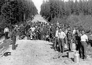 Civilian Conservation Corps workers building road near Roosevelt, 1933.