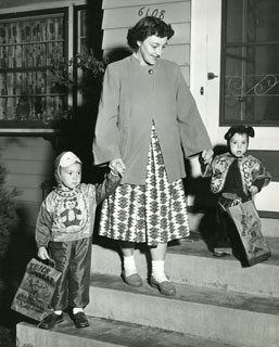 Photo: Rose Marie taking Danny and Ricky trick or treating from house at 6108 Vincent Ave. South, Mpls., Halloween 1956.