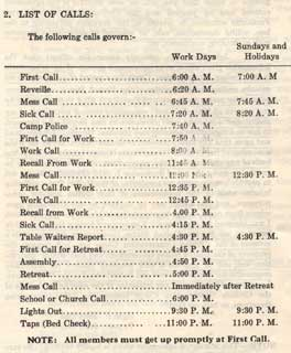Daily schedule from CCC Handbook, Company 3707, Camp F-53, Two Harbors, Minnesota, 1939.