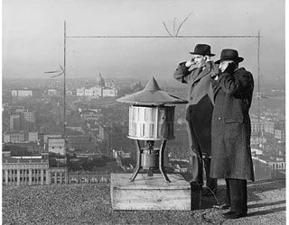 Photo: Air raid siren on top of courthouse, St. Paul, 1941.