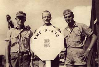 Edward Sovik (center), Gilbert Islands, South Pacific, 1944.