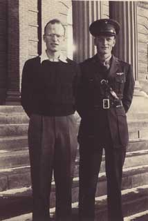 Edward Sovik (right) with twin brother, Arne, 1943.