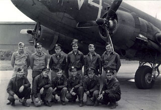 303rd Squadron, 442nd Troop Carrier Command, 1945. Lt. Robert Carr is fourth from right in the front row.