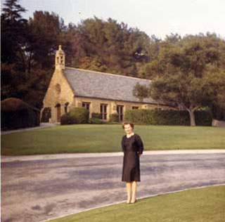 Doris Shea Fox, revisiting the Wee Kirk O' The Heather, 1964.