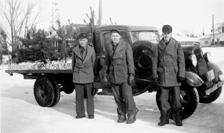 Photo: Edmond Sworsky (center) while in the Civilian Conservation Corps (CCC), ca. 1938-39.