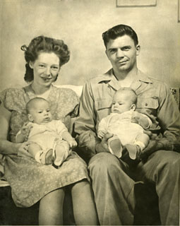 Selina (Lee) and Edmond Sworsky with their twin boys, Tony and Terry, 1947.