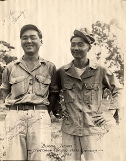 Toshio Abe (left) at rest camp in India.