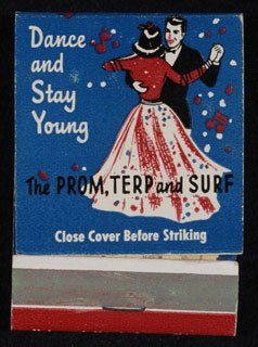 Object: Advertising matchbook for Prom, Terp, and Surf Ballrooms. Minnesota Historical Society 3D Objects Collection, ca. 1937-1945.