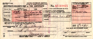 Document: Tire certificate, May 5, 1945.