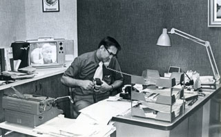 Photo: Tom Cousins in his office at WCCO-TV, about 1965.