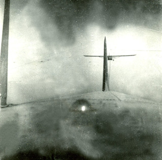 Invasion of Southern France: view of CG-4A gliders from a C-47, 1944.