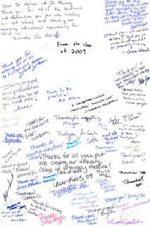 Document: Cards of appreciation given to Dr. Nelson by current veterinary students following a talk on the history of the Veterinary College, 2007.