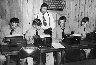 Photo: CCC enrollees learning to type, Maple Lake, 1938.