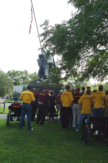 Photo: The Honor Flight group gathered to learn about the USMC Iwo Jima Memorial.