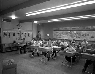 Valley View Elementary School students in classroom, Bloomington, 1955.