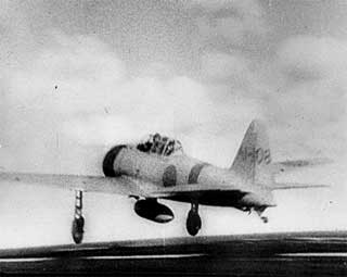 """A Japanese Navy """"Zero"""" fighter (tail code A1-108) takes off, December 7, 1941."""