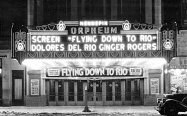Marquee at night, Orpheum Theater, 908-910 Hennepin Avenue, Minneapolis, Photographer: Lee Brothers Photograph Collection ca. 1930 Location no. MH5.9 MP3.1O p31 Negative no. 5317-B