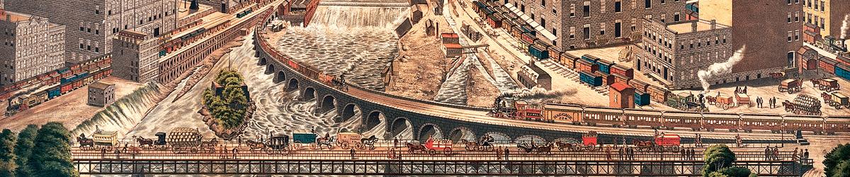 Illustration of milling around Minneapolis riverfront.