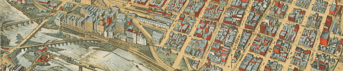 A birds-eye illustration of Minneapolis and the riverfront.