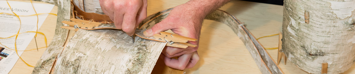 A person working on birch bark crafting.