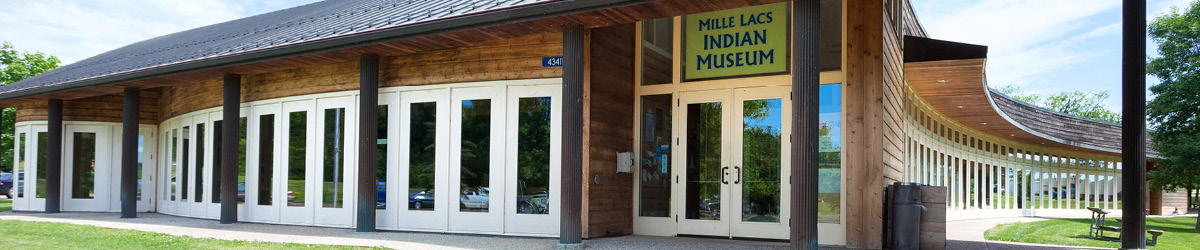 Front view of the Mille Lacs Indian Museum with the front door on the right.
