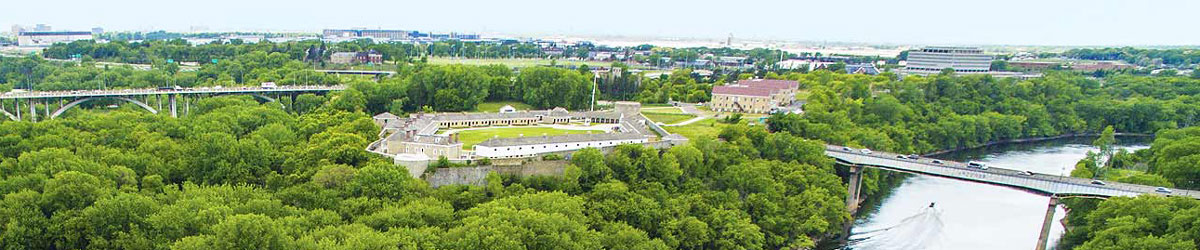 Aerial view of Historic Fort Snelling and surrounding area.