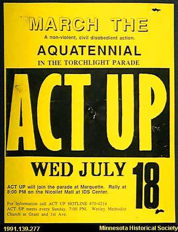 ACT UP handbill announcing a march against HIV AIDS.