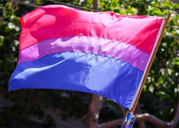pink stripe on top, narrow purple stripe in the middle, blue stripe on the bottom
