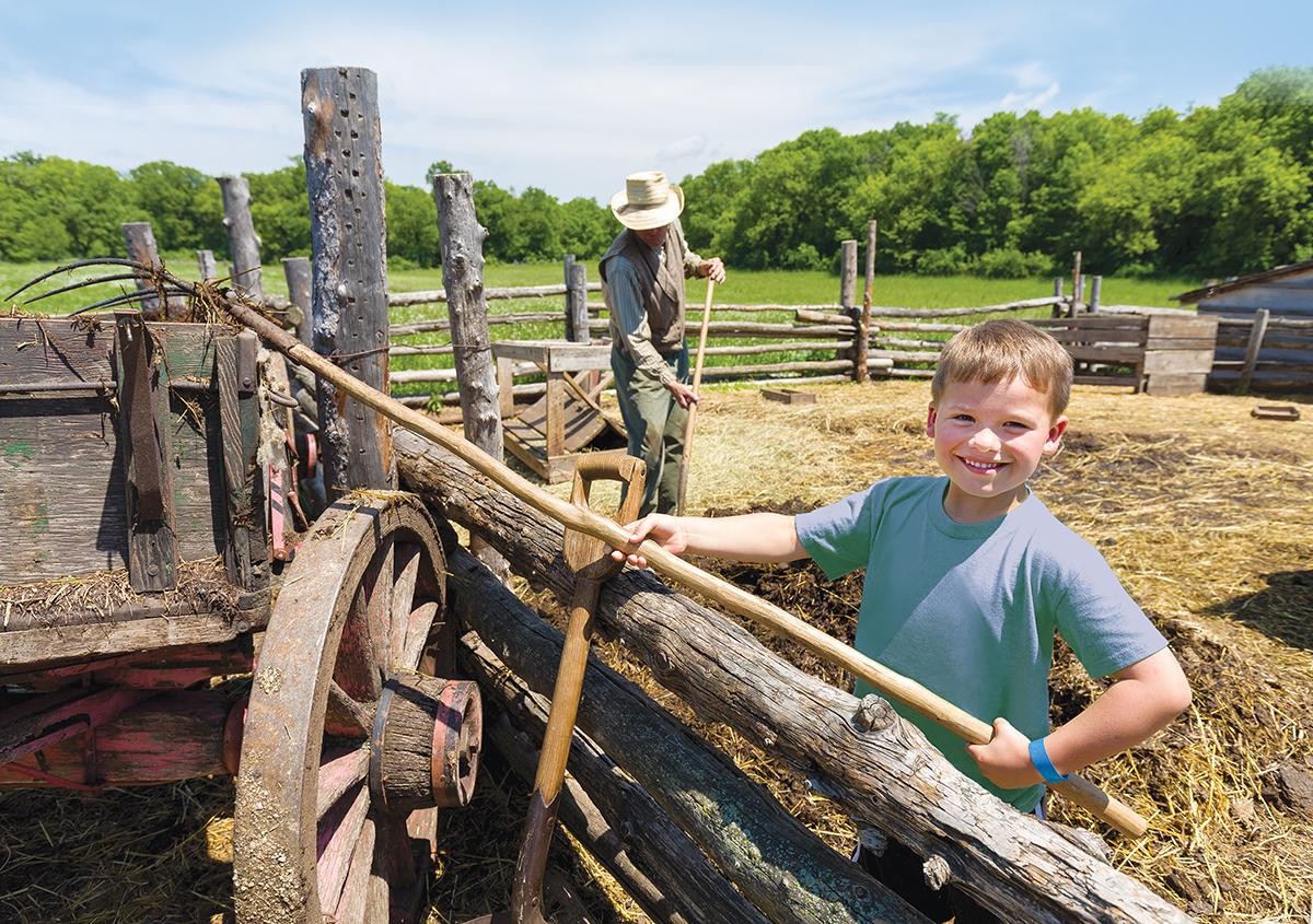 Boy working on the farm