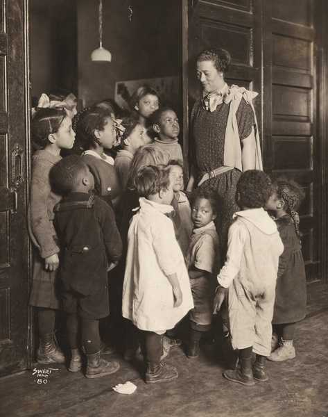 Gertrude Brown with children at Phyllis Wheatley House, ca. 1924.