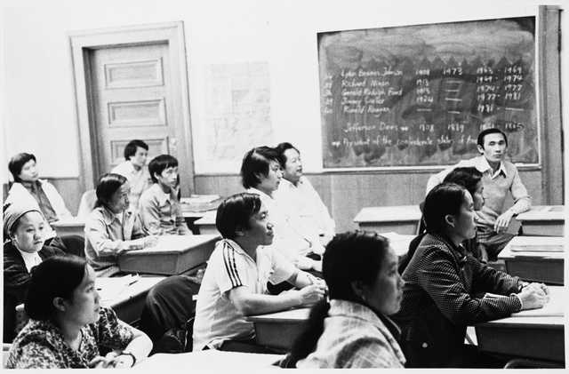 Hmong students in a class at the Lao Family Community Center inside a branch of the St. Paul YMCA, c.1980.