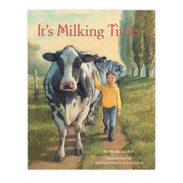 Book cover illustration of a cow and child.
