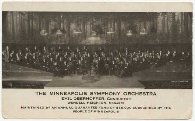 Minneapolis Symphony Orchestra on stage, c.1912.