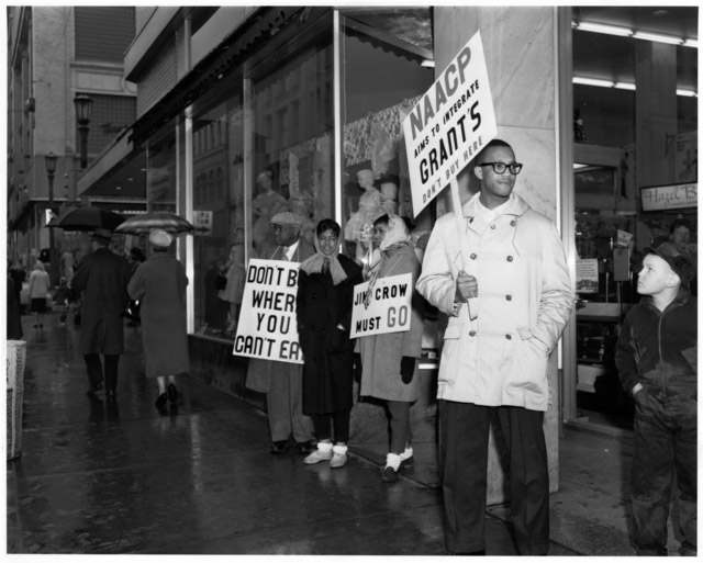 NAACP members picketing outside Woolworth's for integrated lunch counters, 1960.
