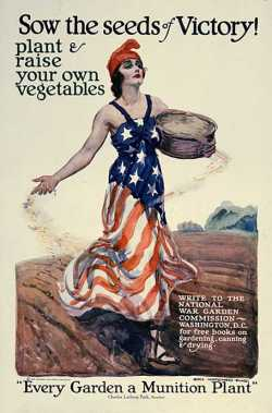 Poster of a woman in an American flag dress scattering seeds by hand in a field, c.1918.
