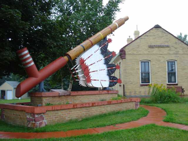 The world's largest peace pipe, installed next to the Rock Island Depot in Pipestone.