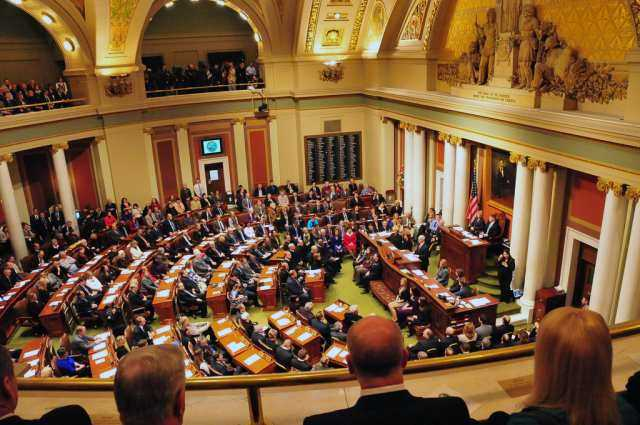 A view of the House floor at the Minnesota State Capitol.