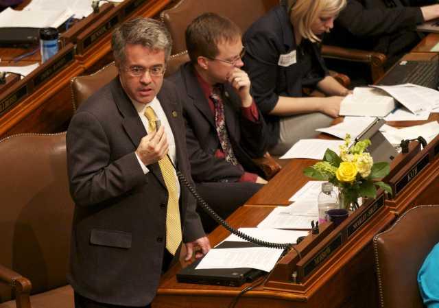 Minnesota Representative Terry Morrow (DFL) speaks on the House floor against SF 1308.