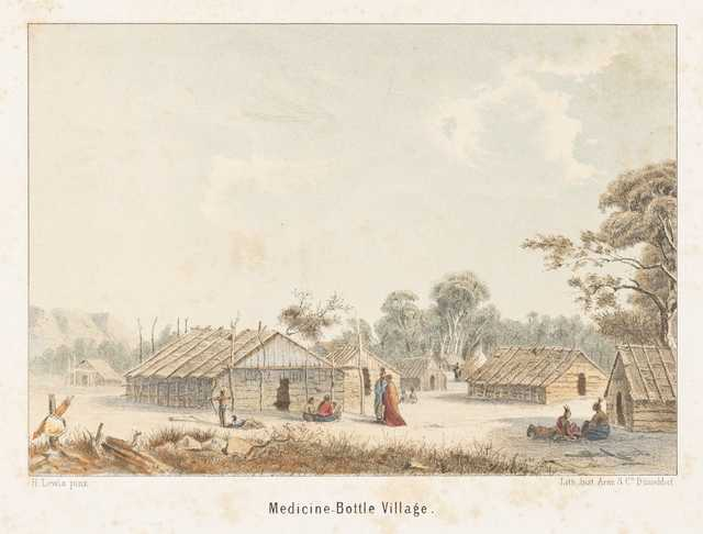 The village of Wakan Ozanzan (Medicine Bottle) on the Mississippi River (at present-day Pine Bend) by Seth Eastman in the 1840s and printed by Henry Lewis as a lithograph on paper ca. 1855.