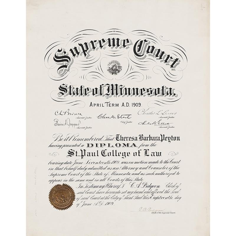 Theresa Peyton MN Supreme Court certificate