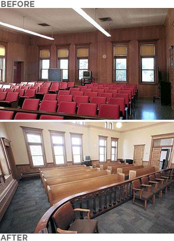 Photos: Before and after restoration pictures showing the Norman County Courthouse court room