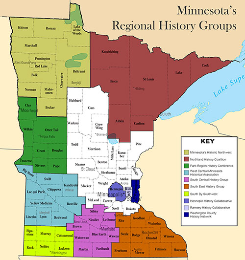 Map showing Minnesota's regional history groups' area of coverage.